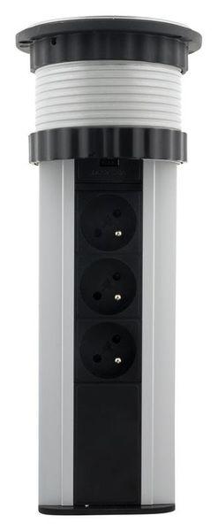 LISTWA ZASILAJĄCA CHOWANA W BLAT 3 GNIAZDA 16A + 2 USB (760063) zdjęcie 2