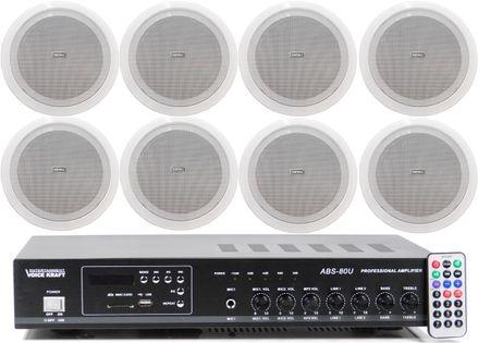 NAGŁOŚNIENIE SUFITOWE MP3 FM 8x GŁOŚNIK TONSIL