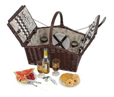 Wiklinowy kosz piknikowy KEMER RICHMOND PARK Brązowy
