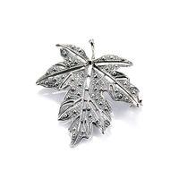 Broszka srebrna liść