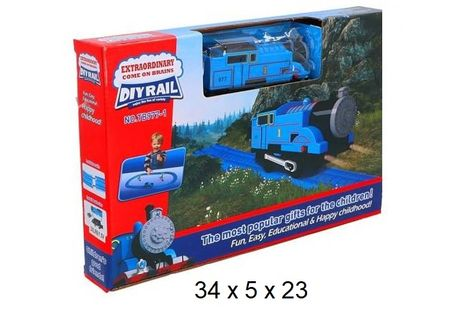 Kolejka na baterie niebieska pociąg