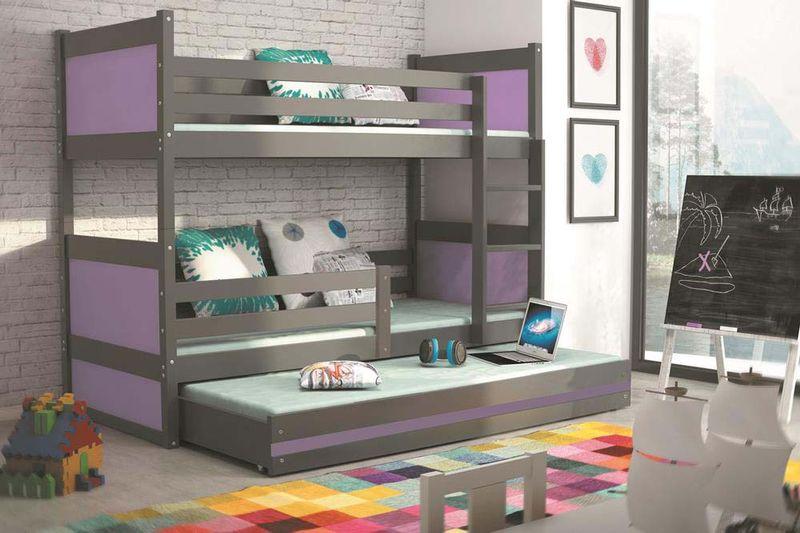 Łóżko łóżka dla dzieci meble Mateusz 190x80 piętrowe dla trójki dzieci zdjęcie 9