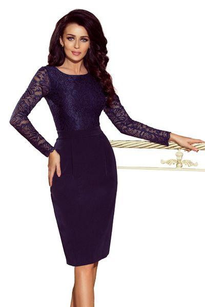 b5bc7d64de 216 1 EMMA elegancka ołówkowa sukienka z koronką GRANATOWA Rozmiar - XL  zdjęcie 5