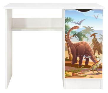 Białe biurko z szafką - Dinozaury