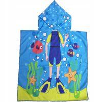 Okrycie Kąpielowe Ręcznik Kapturek Niebieski Nurek