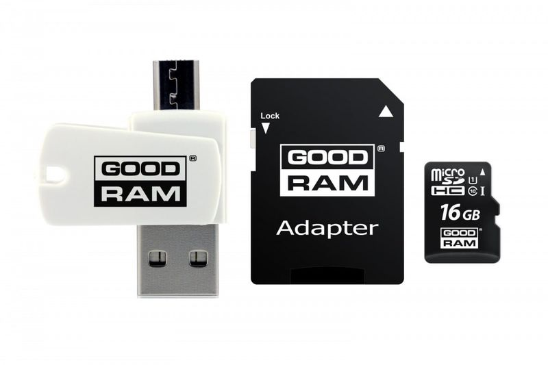 GOODRAM Karta microSDHC 16GB CL10 + adapter + czytnik na Arena.pl