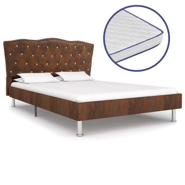 Łóżko Z Materacem Memory, Brązowe, Tkanina, 140X200 Cm zdjęcie 1