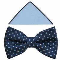 Granatowo-błękitna muszka męska w kropki/groszki A369