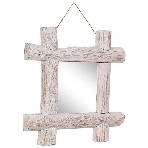 Lustro W Ramie Z Belek, Białe, 50X50 Cm, Lite Drewno Z Odzysku zdjęcie 7