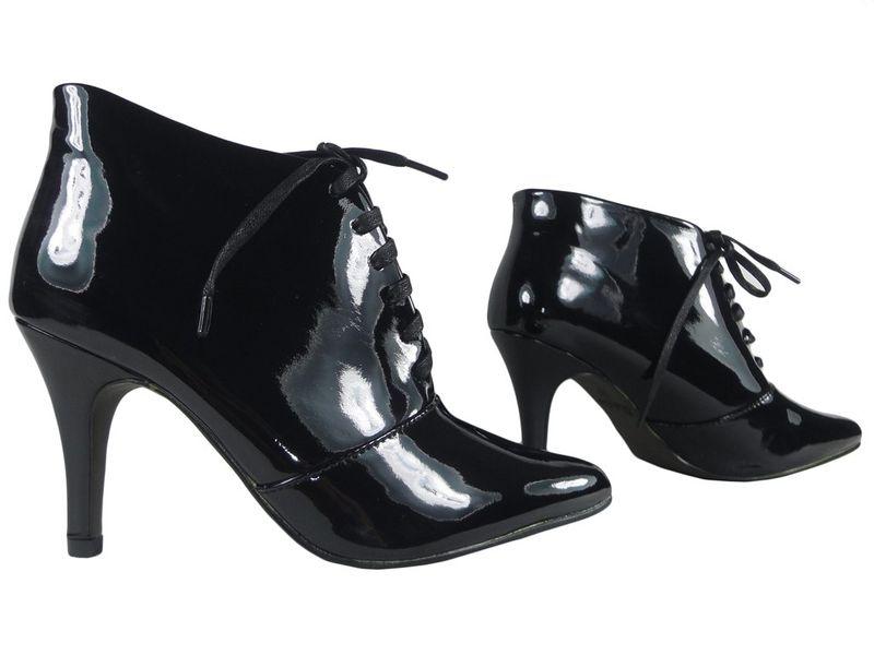 a8f56f2c08f79f Czarne botki damskie sznurowane buty 39 • Arena.pl