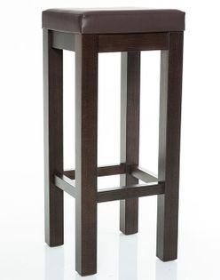 HOKER wysokie krzesło DREWNIANY barowe BEJCOWANY z SIEDZISKIEM BRĄZOWY