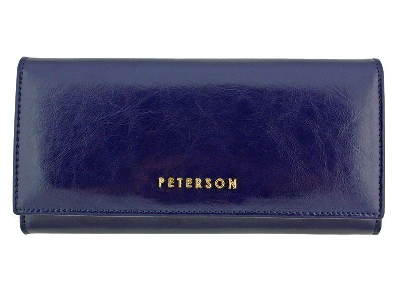 Duży granatowy portfel damski, RFID, Peterson zdjęcie 1