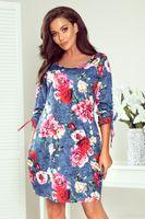 Wzorzysta sukienka z kieszeniami i ściągaczami na rękawach - Niebieski S