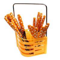 Zestaw sztućców komplet sztućce barowe widelec łyżka nóż łyżeczka pomarańczowe UC72101-3 - Pomarańczowy