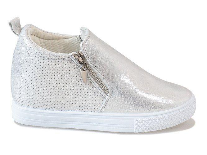 Sneakersy na koturnie srebrne