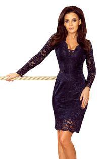 Ołówkowa sukienka z koronki - Granatowy XL