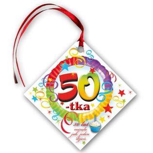 """Zawieszki na alkohol, """"Urodziny 50"""", tęczowe, 20 szt"""