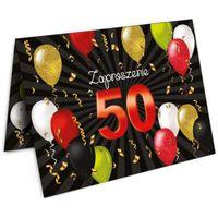 Zaproszenia 50 URODZINY balony czarno czerwone x10