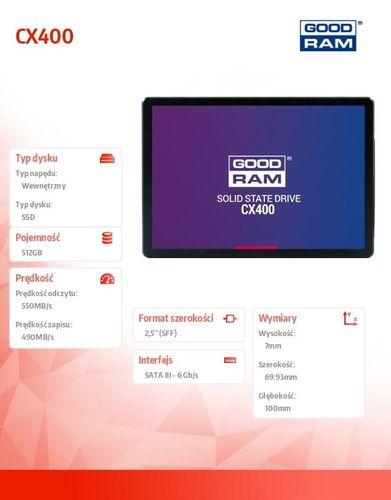GOODRAM Dysk SSD CX400 512GB  SATA3 2,5 550/490MB/s 7mm na Arena.pl