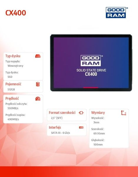 GOODRAM Dysk SSD CX400 512GB  SATA3 2,5 550/490MB/s 7mm zdjęcie 2