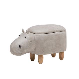 Pufa Zwierzak Ze Schowkiem Ekoskóra Jasnoszara Hippo