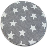 Dywan SKETCH koło - FA68 szaro/biały - Gwiazdki Gwiazdy szary koło 100 cm