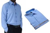 51/52 - 7XL DUŻA koszula męska niebieska indygo bawełniana duże rozmiary Laviino