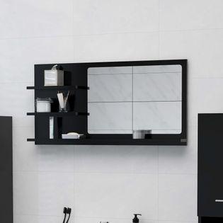 Lumarko Lustro łazienkowe, czarne, 90x10,5x45 cm, płyta wiórowa