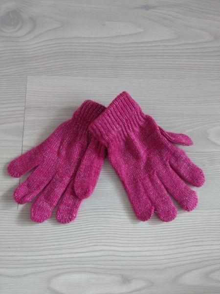 1 Kiddy rękawiczki 5-palczaste dziewczęce różowe ze srebrną nitką zdjęcie 2