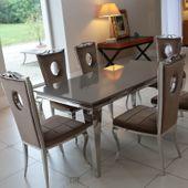Jadalnia glamour Conforto Marrone - brązowe ukojenie - 150 x 90 x 75; 4