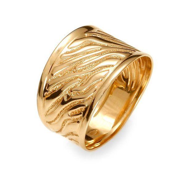 Złoty szeroki pierścionek wzór 3D zdjęcie 1