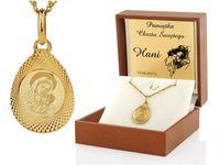 ZŁOTY medalik 585 GRAWER Prezent Chrzest KOMUNIA