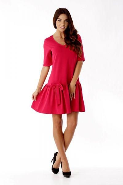 2718253365 Sukienka z falbaną i kokardą ED05 1 Malina Ella Dora Rozmiar - 40 zdjęcie 4