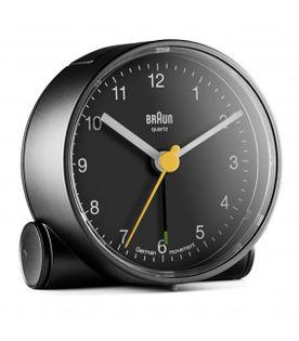 Braun BC01B Budzik na baterię, podświetlenie, alarm, drzemka, płynący mechanizm, szerokość 7 cm