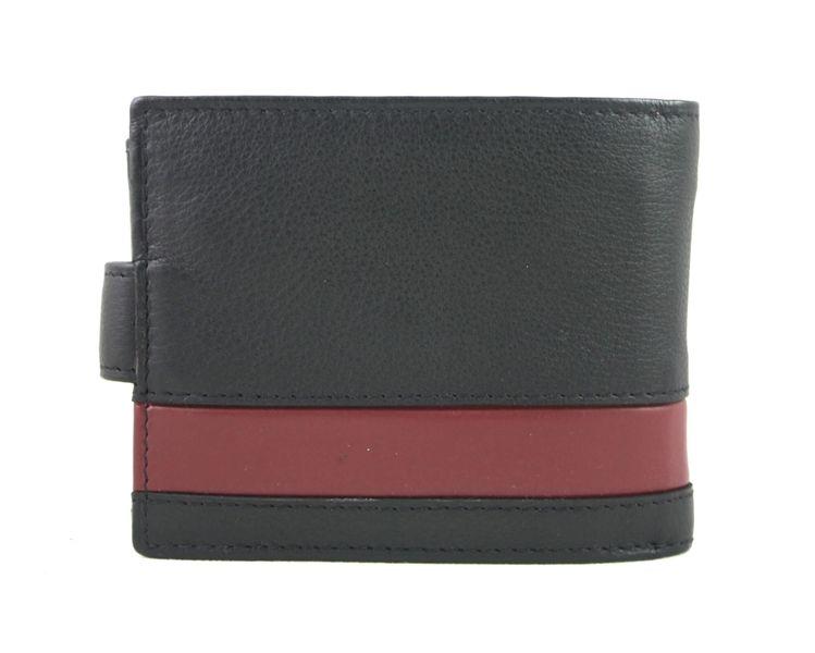 f541c77e564c0 Skórzany portfel męski Pierre Cardin RFID czarny z bordową wstawką ...