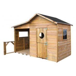 Domek ogrodowy dla dzieci 4IQ Ela drewniany z garażem