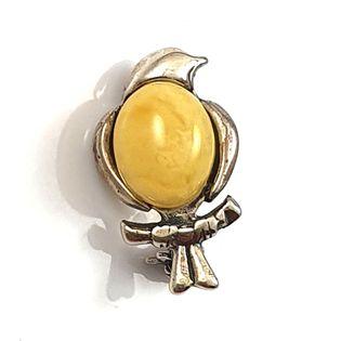 Broszka srebrna ptaszek z naturalnym bursztynem