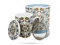 Kubek porcelanowy 430 ml z zaparzaczem KWIATY DUO