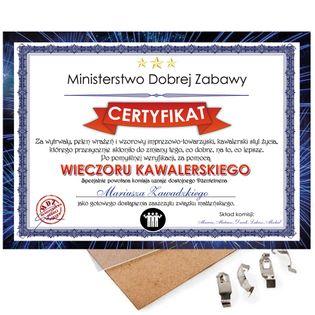 Prezent na Wieczór Kawalerski - Certyfikat, Dyplom na Kawalerskie A4