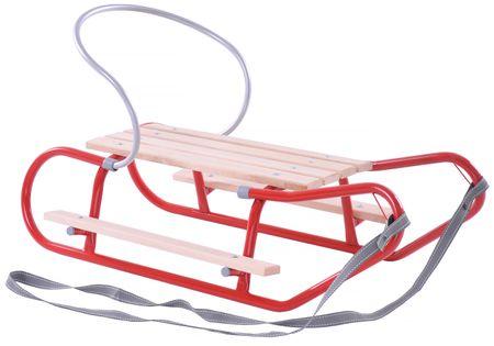 Sanki z oparciem i podnóżkami czerwone