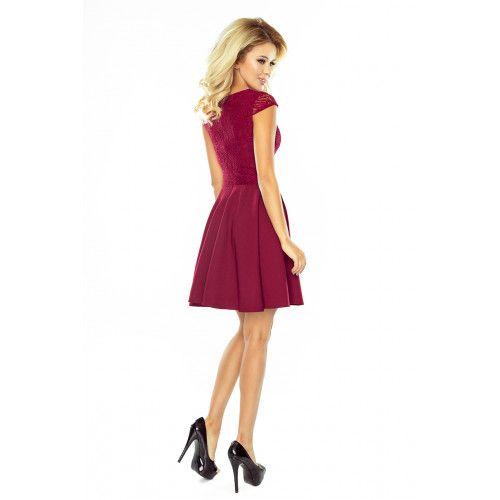 Sukienka rozkloszowana MARTA z koronką - BORDOWA XL zdjęcie 2