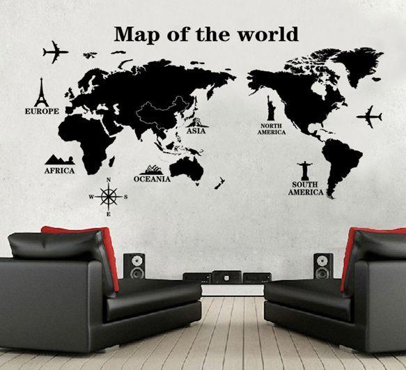 Naklejki na ścianę ścienne Mapa Świata WS-0246 na Arena.pl