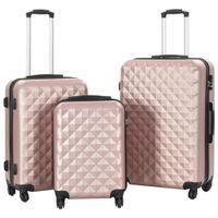 Zestaw twardych walizek, 3 szt., różowe złoto, ABS