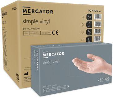 Rękawice winylowe bezpudrowe MERCATOR® simple vinyl S karton 1000 szt