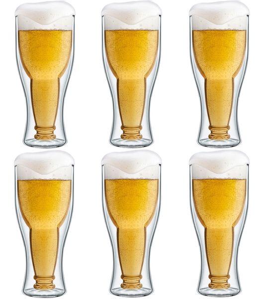 Szklanki Kufle Termiczne z Podwójną Ścianką Piwa Pokale 350ml 6 sztuk zdjęcie 1