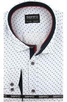 Duża Koszula Męska Sefiro biała w granatowe wzorki na długi rękaw Duże rozmiary A346 9XL 53 182/188