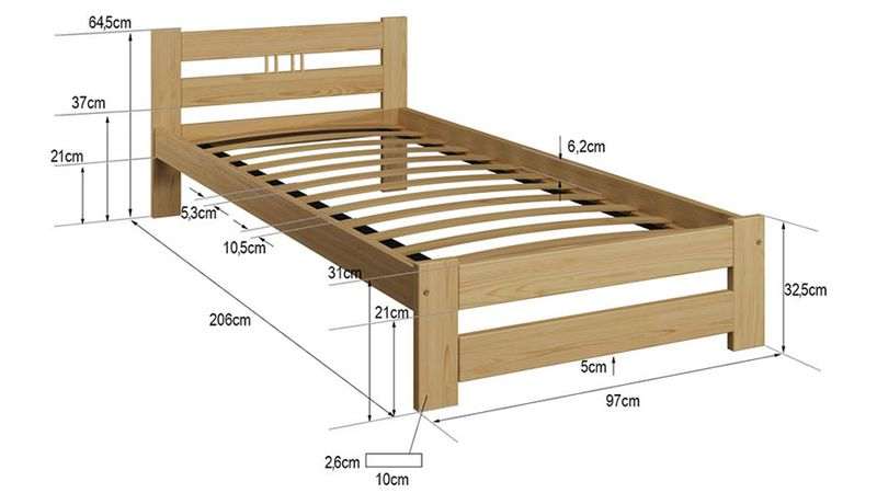 łóżko Esm2 90x200 Drewniane Stelaż Sprężynujący