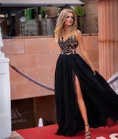 CHIARA - długa suknia wieczorowa-czarno-beżowy M (38)