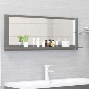 Lumarko Lustro łazienkowe, wysoki połysk, szare, 100x10,5x37 cm, płyta