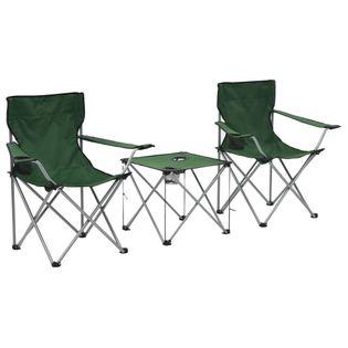 Lumarko Stolik i krzesła turystyczne, 3 elementy, zielone